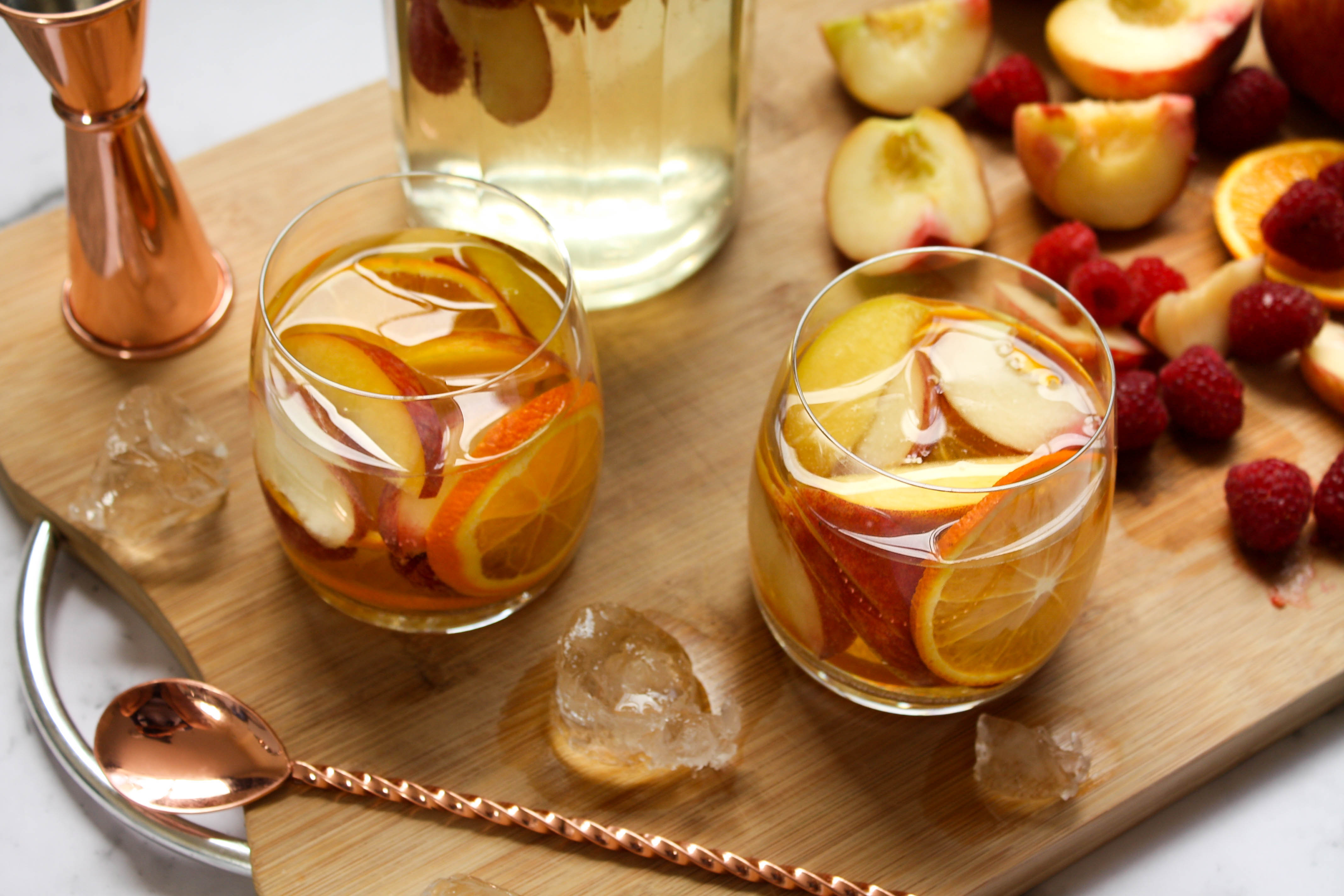 white peach and raspberry sangria
