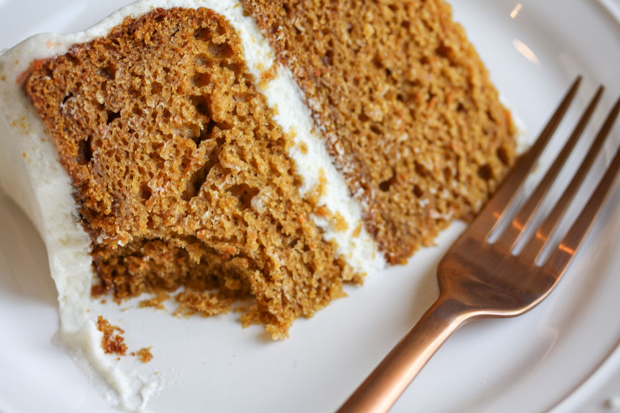 pumpkin spice carrot cake with cream cheese frosting