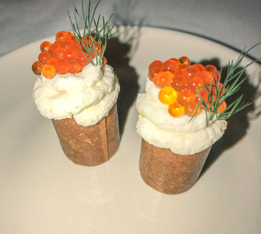 beef tartare in a crispy shell, topped with salmon roe at Jeffrey's, Austin