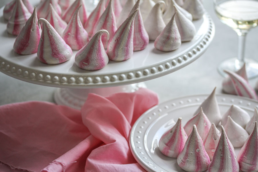 pastel pink striped meringue kisses