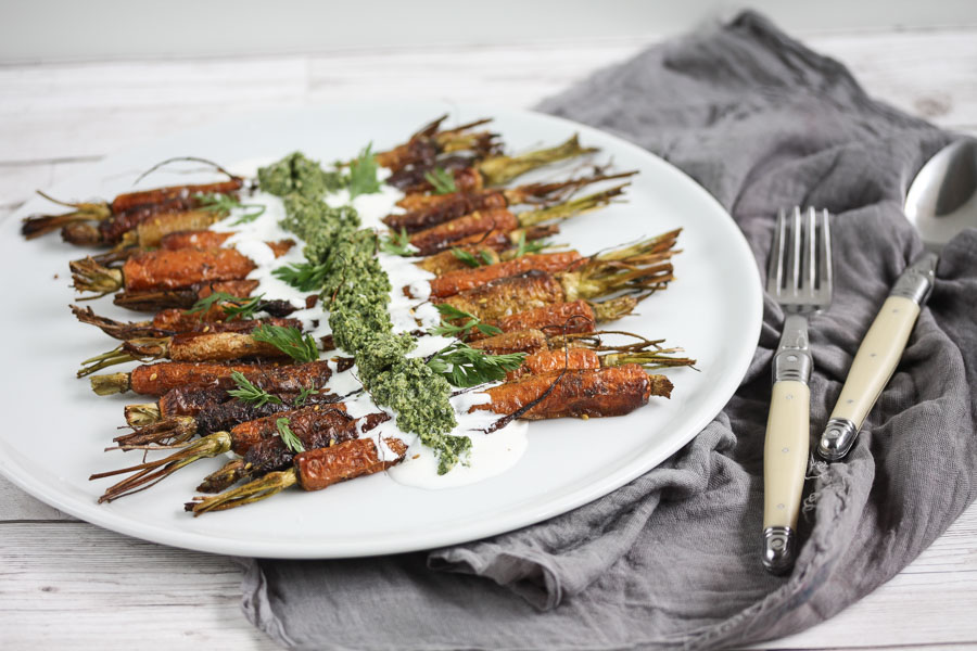 za'atar roasted carrots with carrot top & sunflower seed pesto