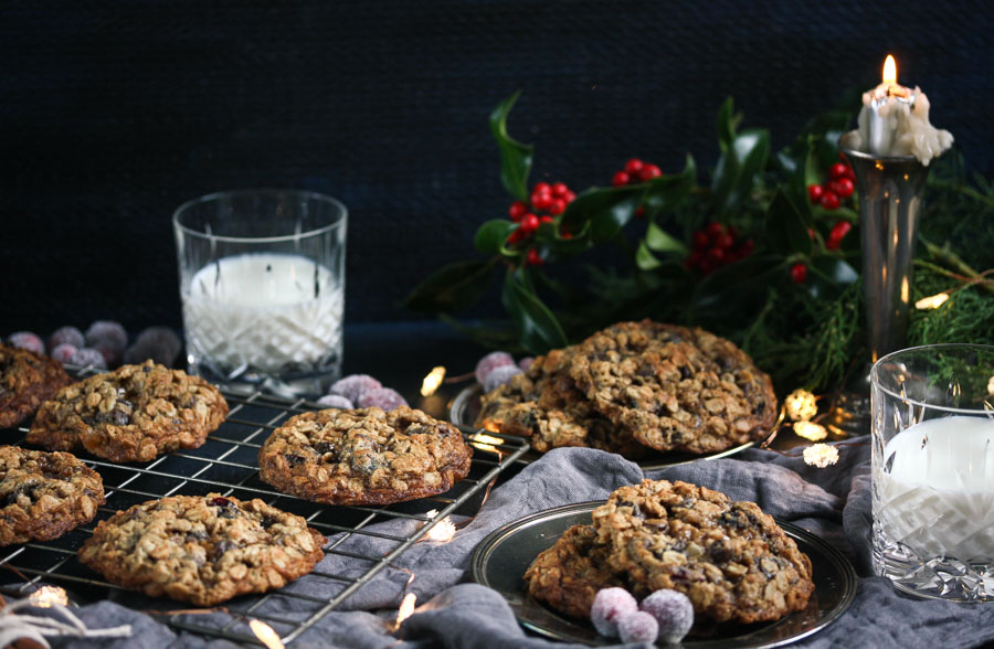 holiday spiced cranberry chocolate chip oatmeal cookies with candied ginger
