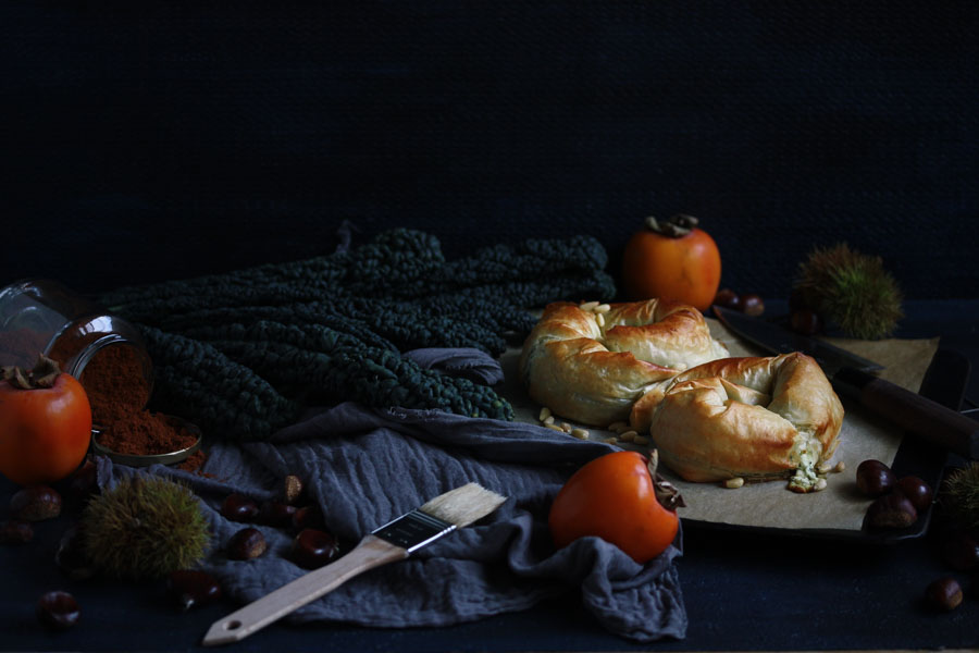 kale and feta spanakopita with toasted pine nuts