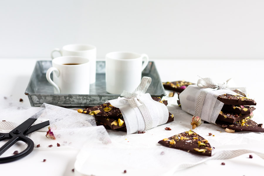salted pistachio, rose and cacao nib dark chocolate bark