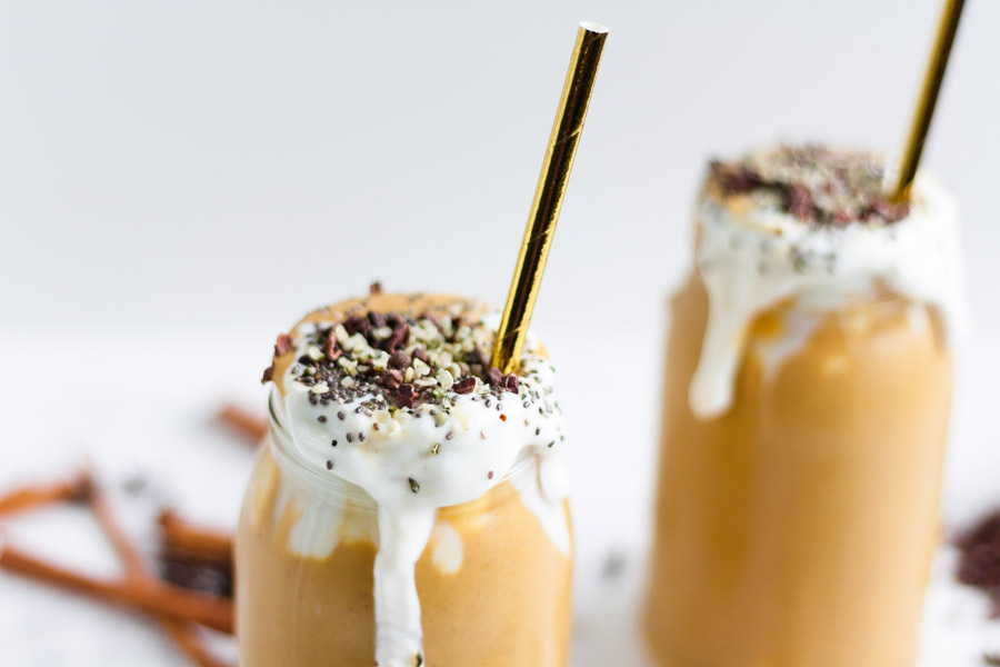 vegan pumpkin spice superfood protein smoothie