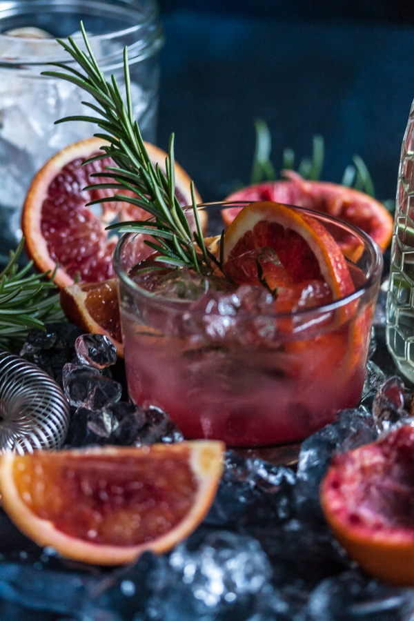 blood orange, rosemary & gin cocktails